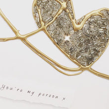 Load image into Gallery viewer, 'You're my person' Love Hearts, 3D Box Frame Personalised Art (Gold) www.withcerys.co.uk