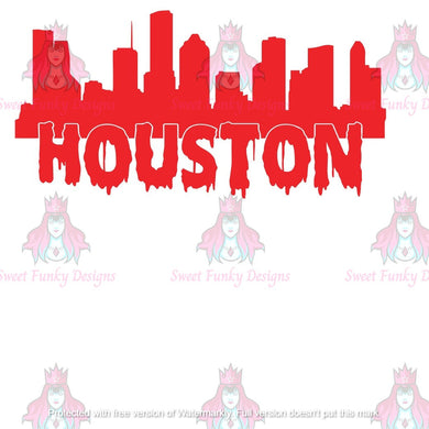 Houston Skyline, Dripping Houston - Candi's Vinyl Creations