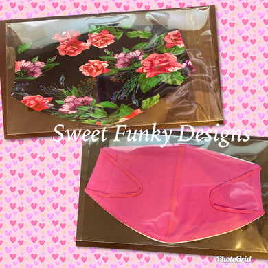 Floral/Pink Face Cover - Candi's Vinyl Creations