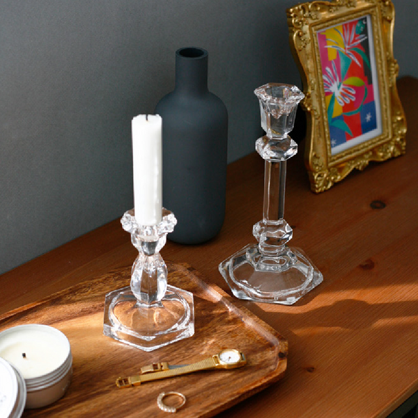 Glass candle stand 128