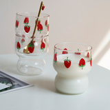 strawberry glass cup B0344