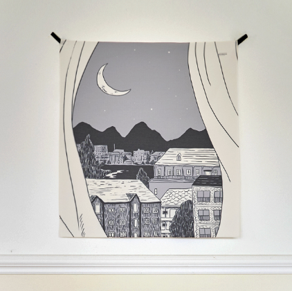 Window illustration fabric poster 349