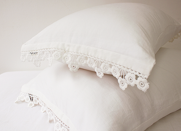 Flower lace linen pillowcase 449