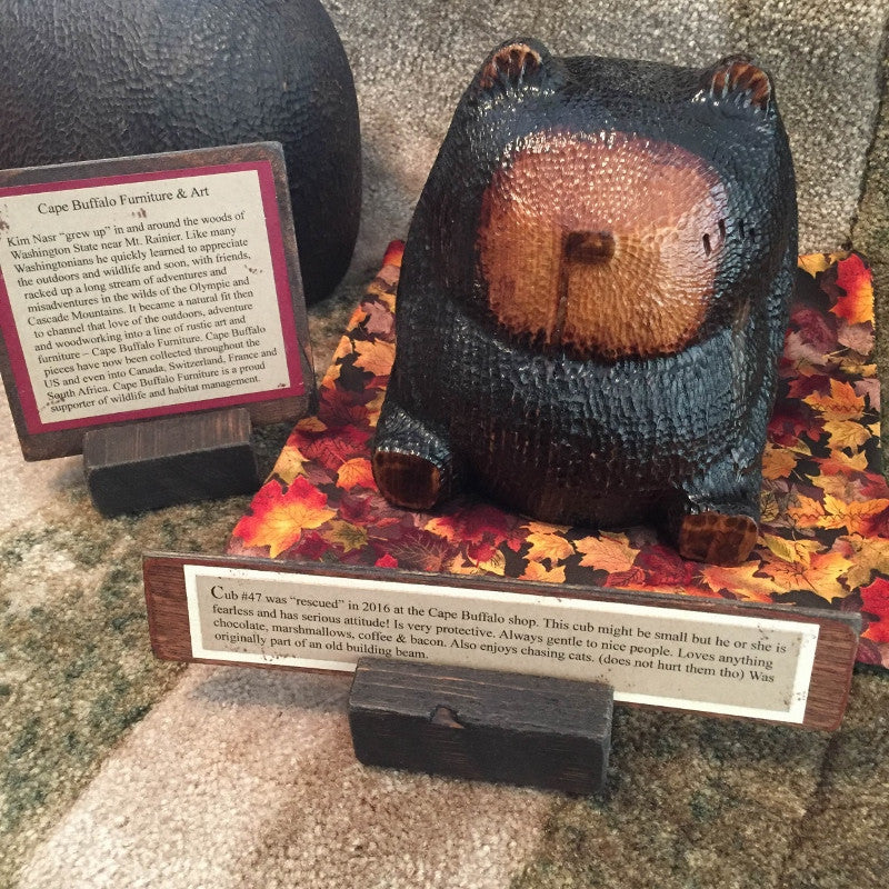 Hand-Crafted Wooden Bear Cubs