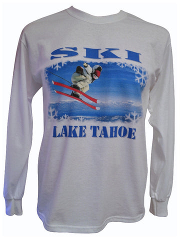 Ski Lake Tahoe White Long-sleeved T-shirt