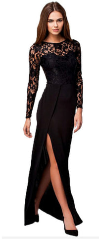Black Lace Knit Dress