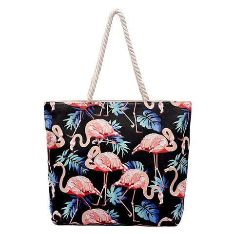 Bohemian Canvas Flamingo Tote Bag