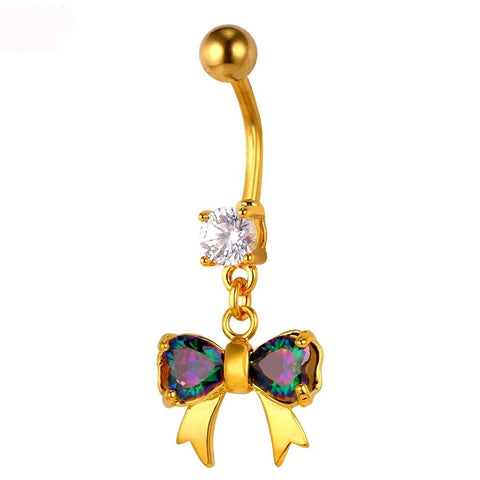 "Bow and ""Diamond"" Belly Button Ring"