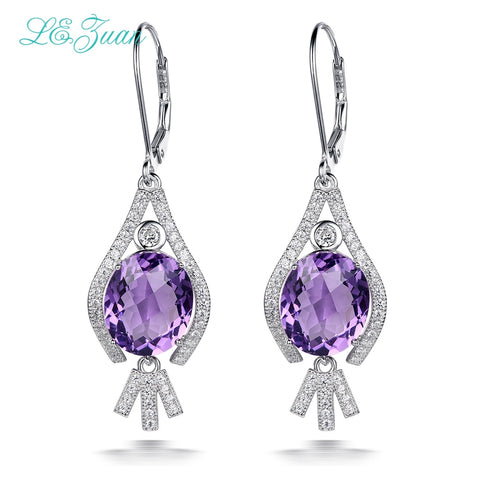 Sterling Silver Oval Amethyst Drop Earrings