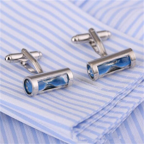 Vintage Blue Hourglass Silver Cuff Links