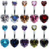 Heart Crystal Belly Button Rings