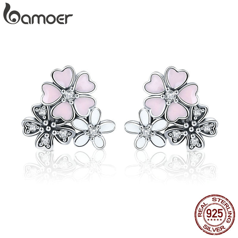 Sterling Silver Pink Cherry Blossoms Flower Stud Earrings