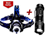 3800LM LED Head Lamp + Mini LED Flashlight 2000LM Zoomable Torch