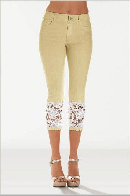 Stretch Pencil Lace Capri Jeans