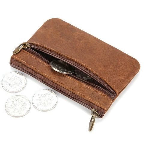 Zippered Leather Coin Purse
