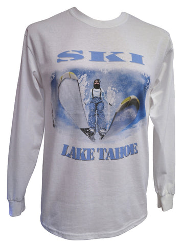 Ski Tahoe Warped White Long-sleeved T-shirt