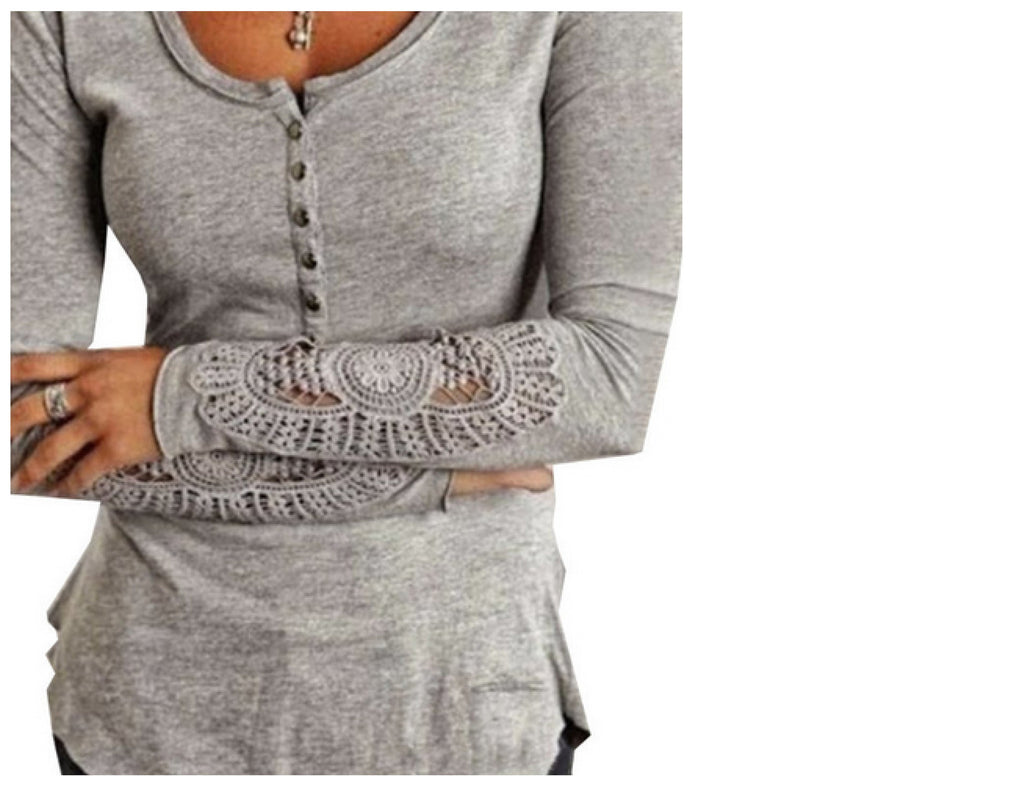 ladies grey knit top with crochet sleeves