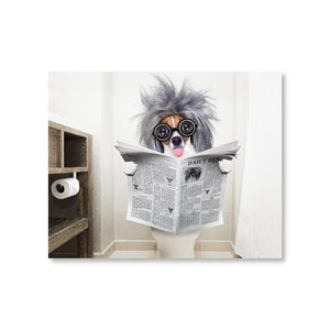Dog Reading Newspaper Wall Art - Endangered Beauties LLC