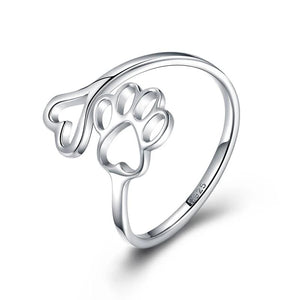 Adjustable Sterling Silver Paw Print Ring - Endangered Beauties LLC