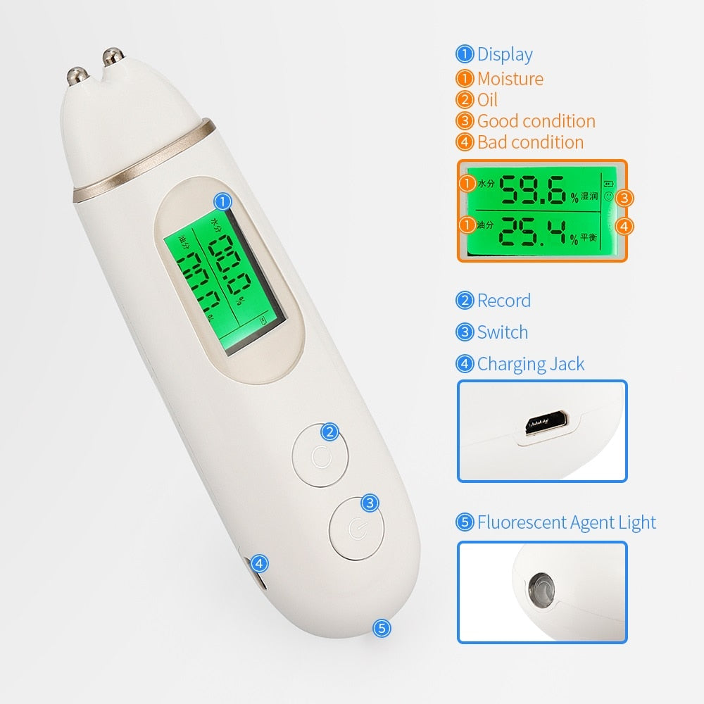 Skin Moisture Tester Digital Display Facial Skin Moisture Oil Analyzer