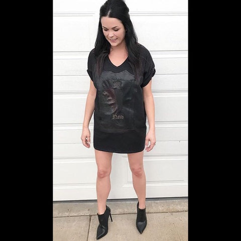 A Leather Logo Tshirt Dress