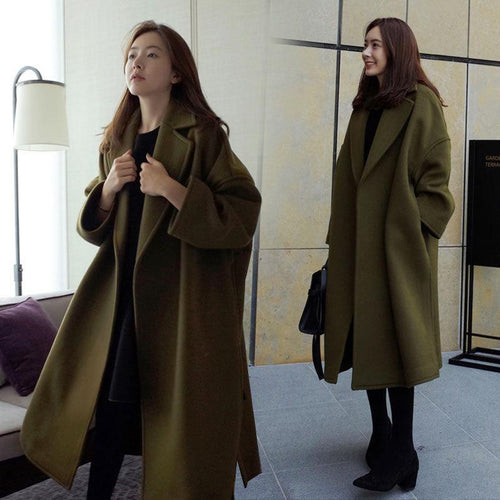 womens long woolen coat