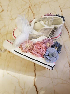 High Top Flower Girls Canvas Shoes