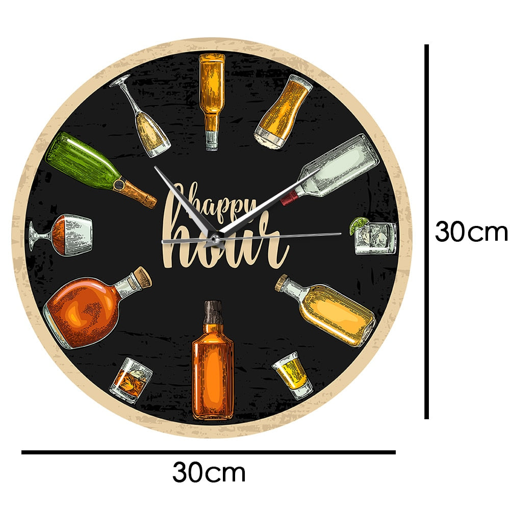 Happy Hour Booze Wall Clock