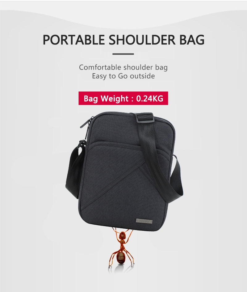 Waterproof Black Canvas Messenger Bag For Men