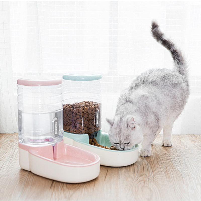 2 Pieces/Set Automatic Feeding Bowls For Pets With Water Dispenser and Pet Food Container