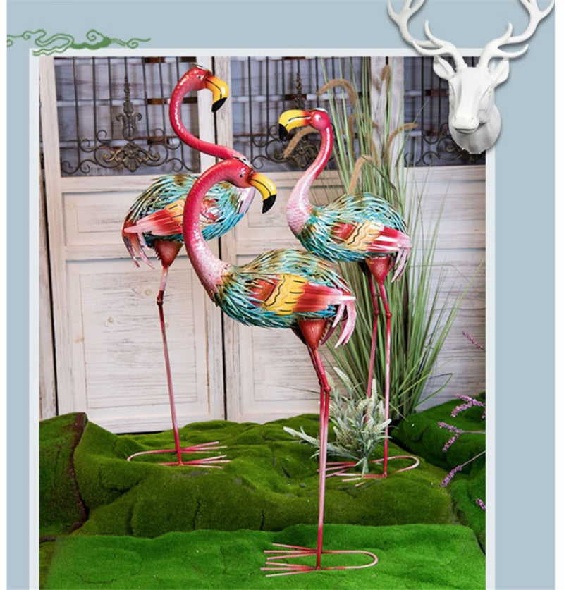 Colorful Iron Flamingo For Home Garden Decoration