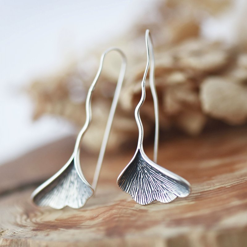Real 925 Sterling Silver Leaf Drop Earrings For Women