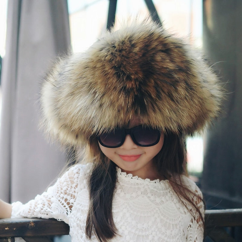 Real Fox Fur Hat With Leather For Kids