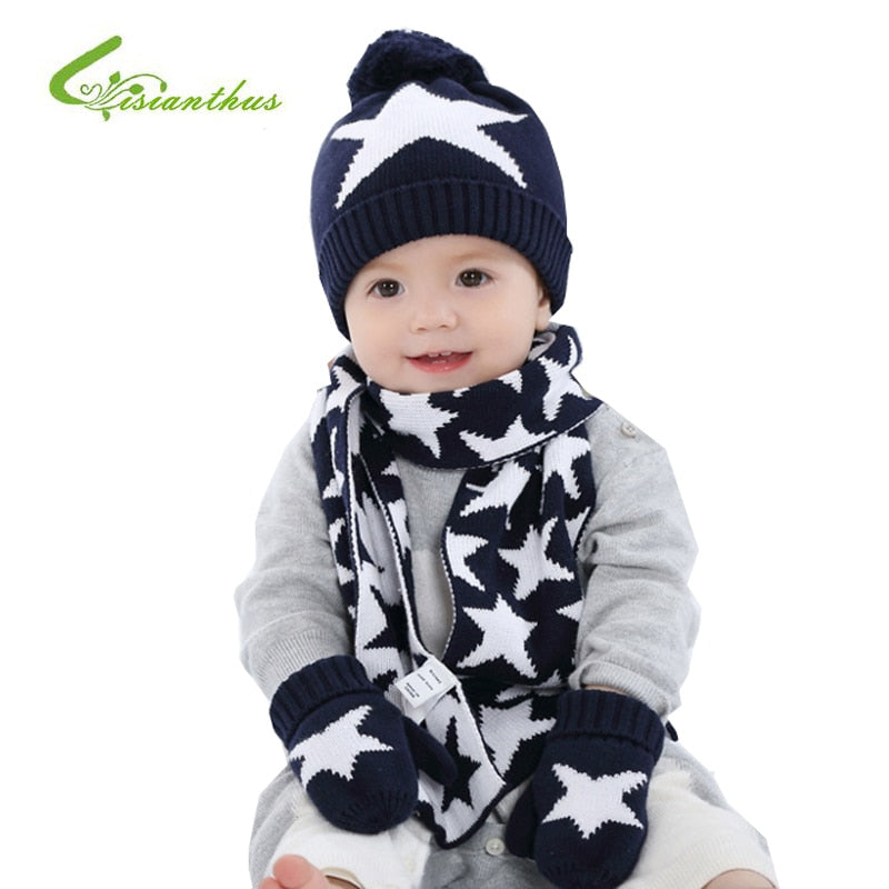 Soft and Warm Winter Baby Hat with Scarf and Gloves