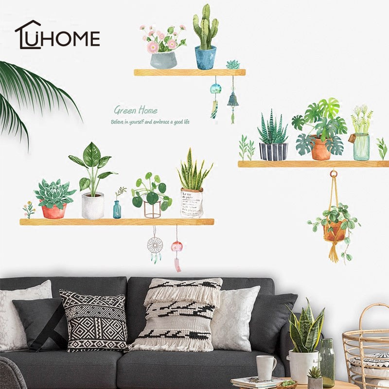 Potted Flower And Green Plants Wall Stickers for Home Decor