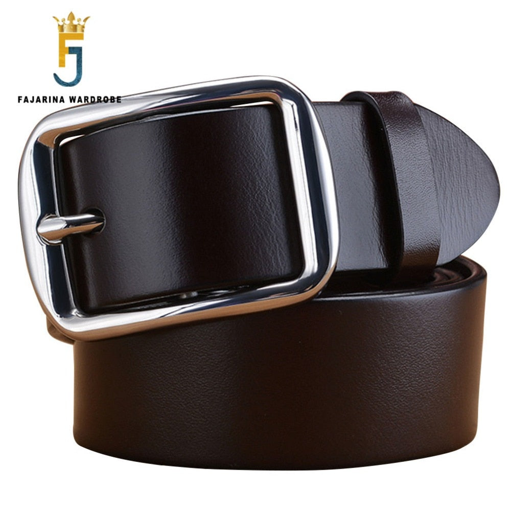 Top Quality 100% Genuine Leather Retro Style Stainless Steel Pin Buckle Belt For Men
