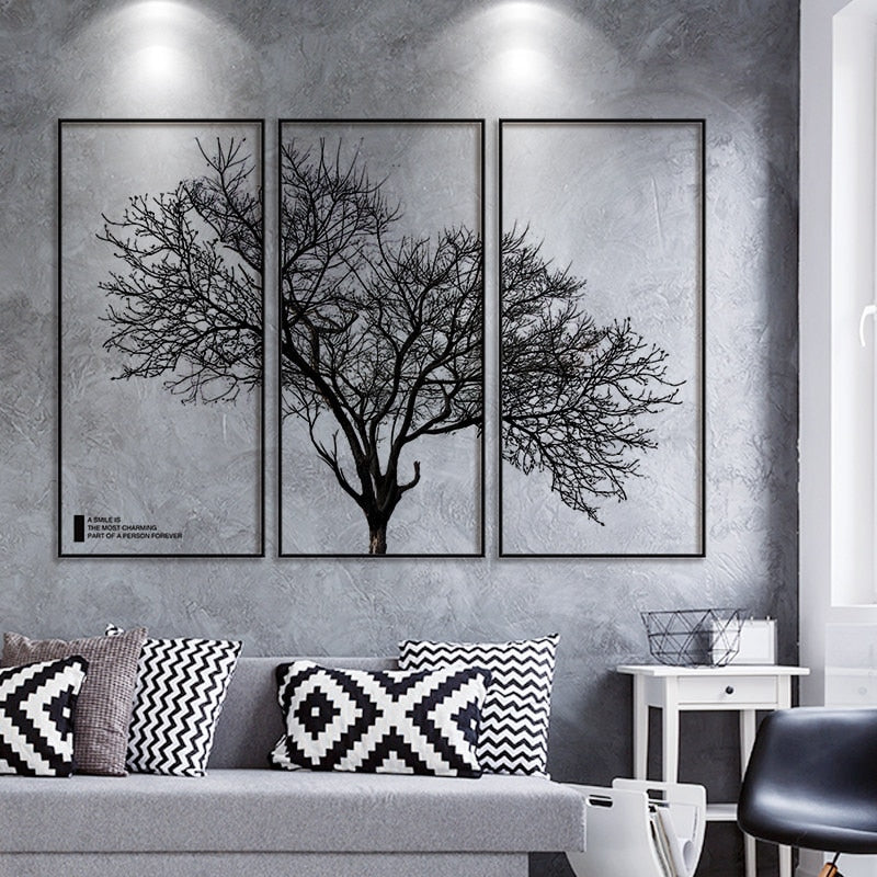 Creative Big Tree Branches Black Frame Wall Art for Living Room and Bedroom Room Wall