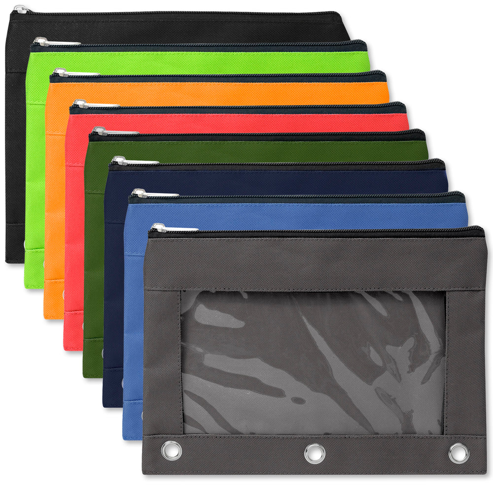 Wholesale 3 Ring Binder Pencil Case with Window - 8 Colours