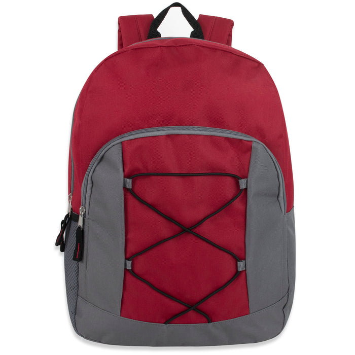 Wholesale 43cm Bungee Backpack 20L Capacity With Side Pocket - 5 Colourways