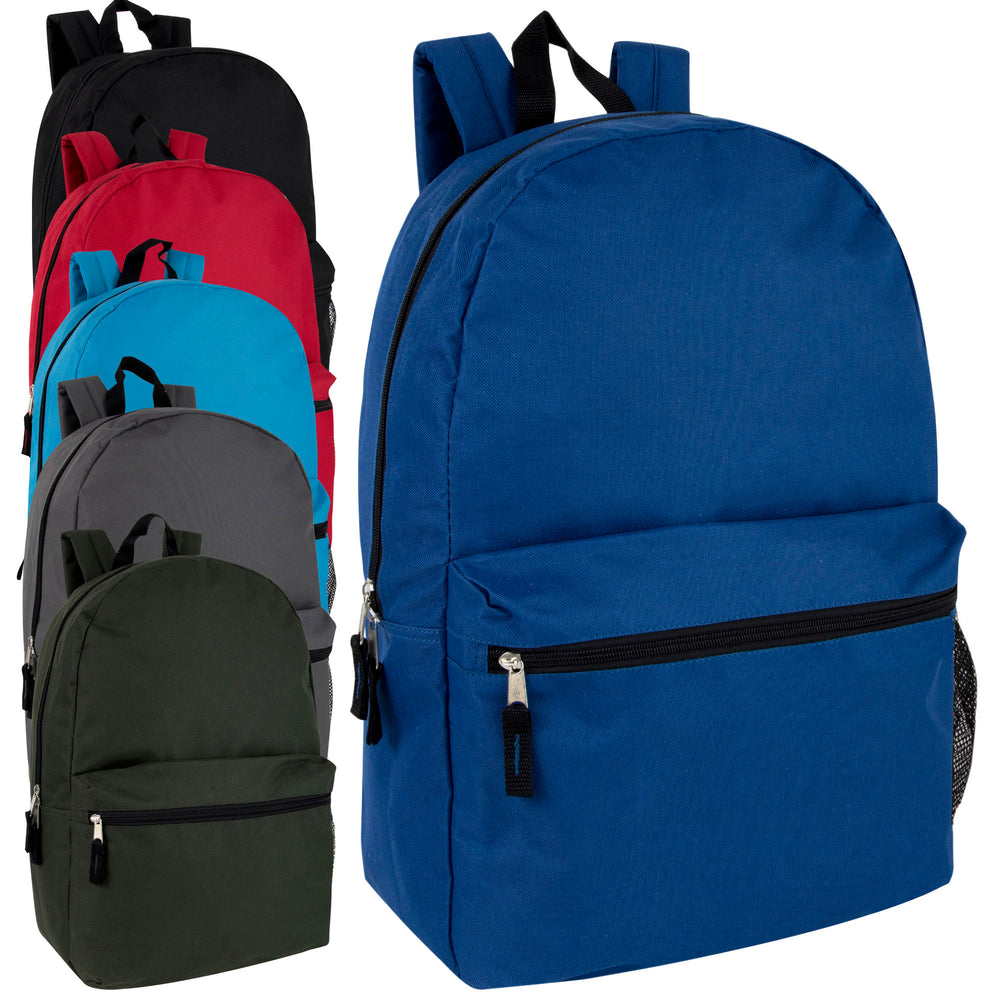 Wholesale 48cm Backpack 25L Capacity With Mesh Side Pocket - 6 Colours