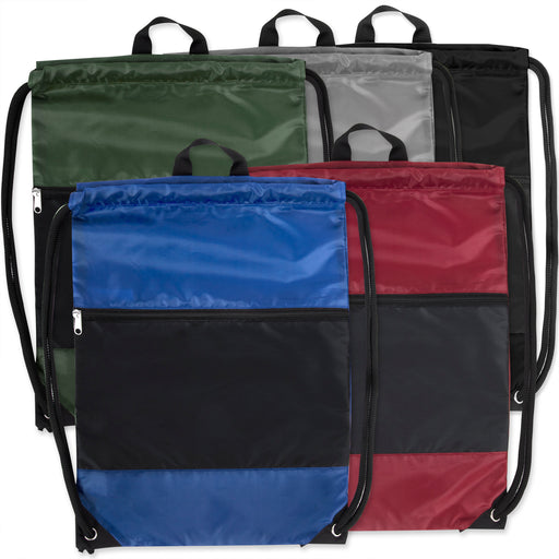 Wholesale 46cm Drawstring Bag Large Zipped Section - 5 Colours