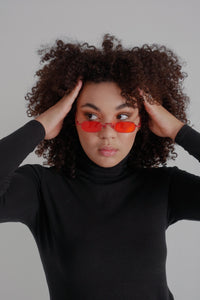 Red and Black Square Rounded Frame Glasses