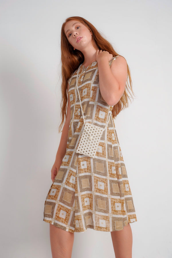 80's Sheer Square Pattern Dress