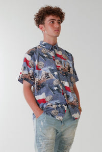 Blue Hawaiian Shirt with American Pattern