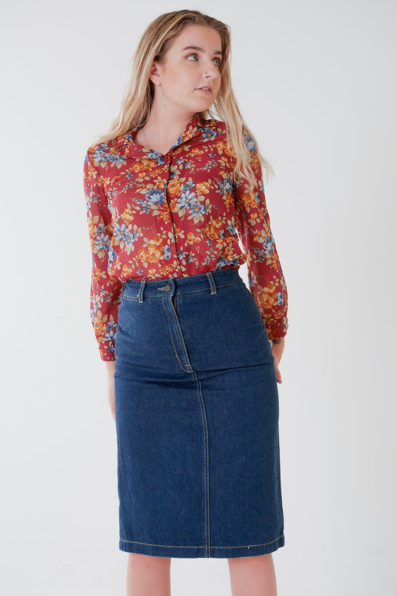 90's Denim Pencil Skirt