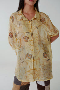 Soft Brown and Yellow Sheer Leaf Patterned Blouse