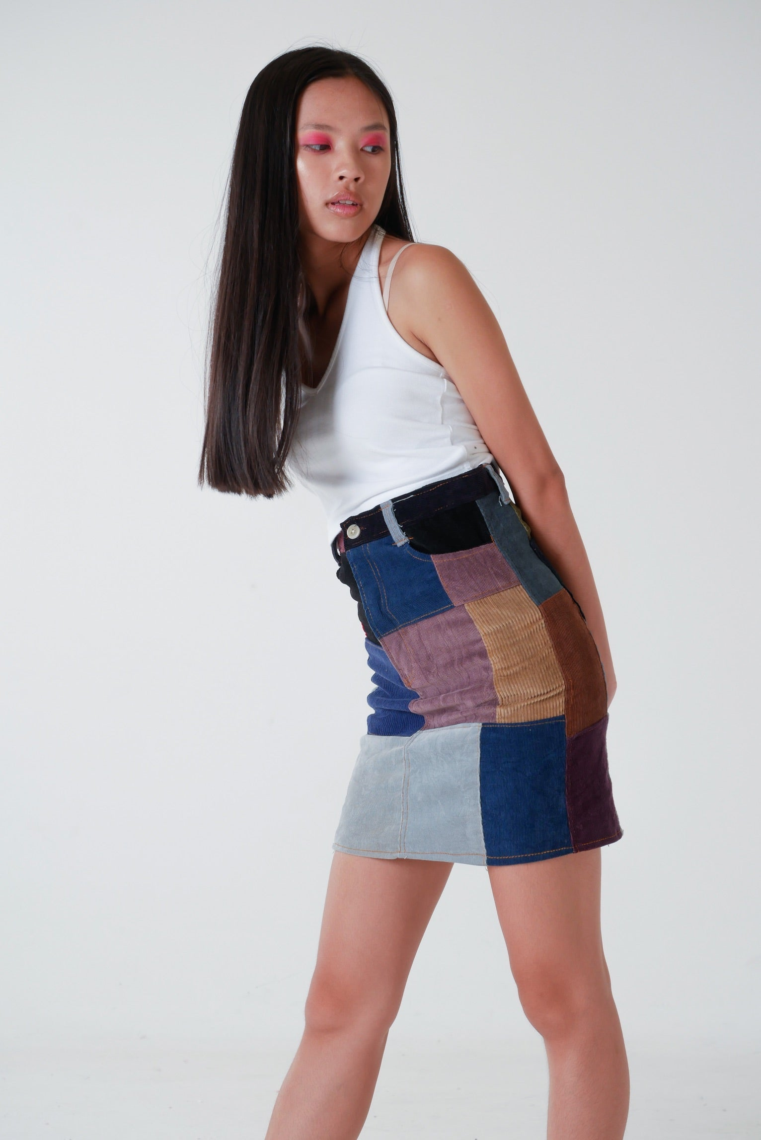 Corduroy Patchwork Pencil Skirt