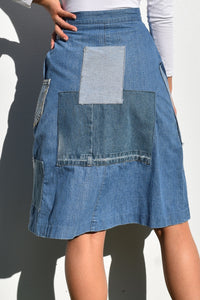 Handmade Patchwork Denim Skirt