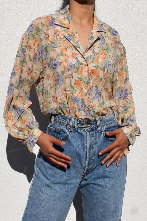 Sheer Floral Blouse with Bishop Sleeves