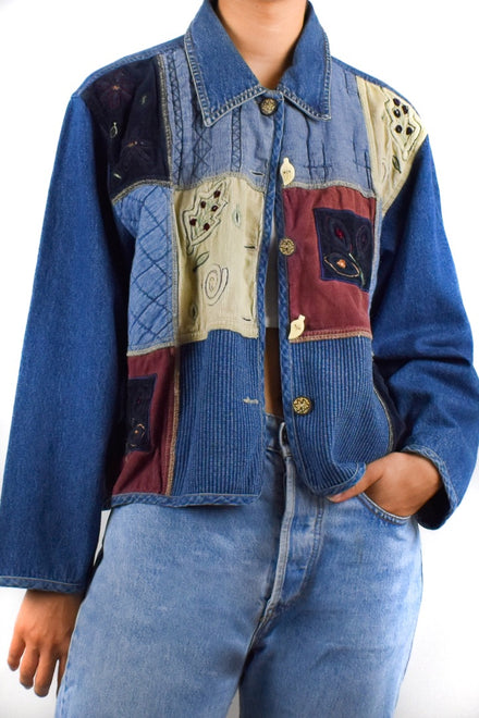 Denim Fabric Patch Jacket